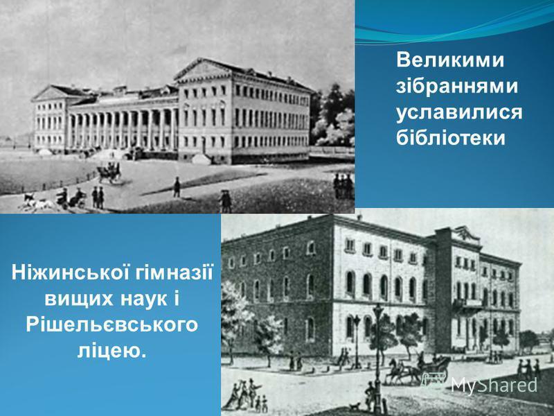 Ніжинської гімназії вищих наук і Рішельєвського ліцею. Великими зібраннями уславилися бібліотеки