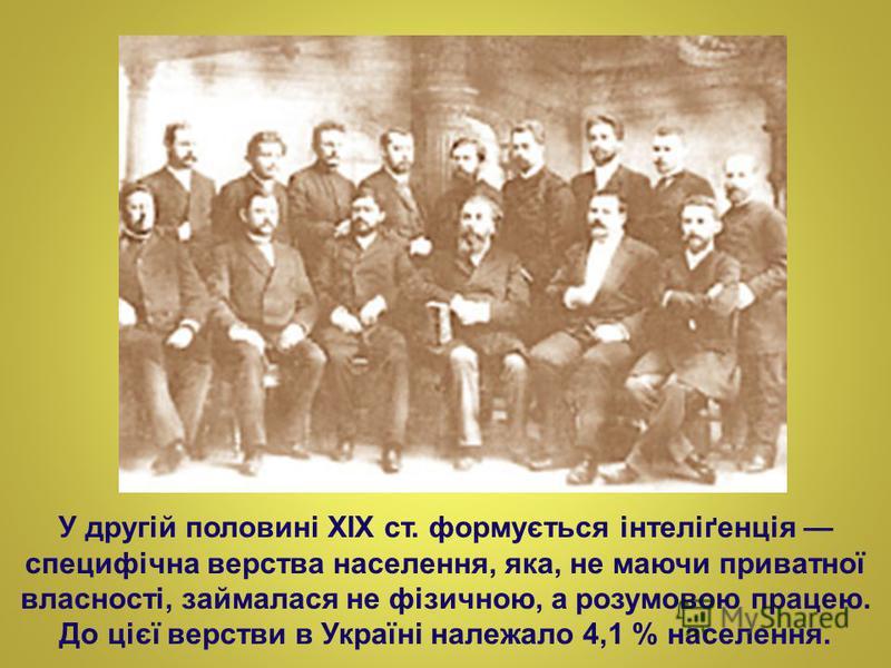 У другій половині XIX ст. формується інтеліґенція специфічна верства населення, яка, не маючи приватної власності, займалася не фізичною, а розумовою працею. До цієї верстви в Україні належало 4,1 % населення.