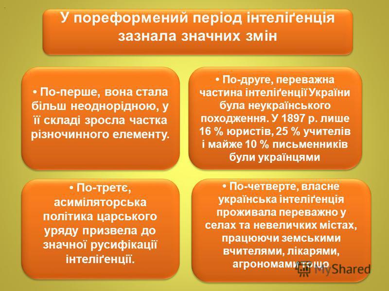 . У пореформений період інтеліґенція зазнала значних змін По-перше, вона стала більш неоднорідною, у її складі зросла частка різночинного елементу. По-друге, переважна частина інтеліґенції України була неукраїнського походження. У 1897 р. лише 16 % ю