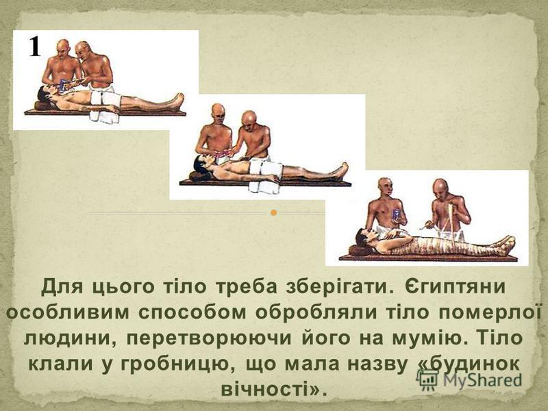 Для цього тіло треба зберігати. Єгиптяни особливим способом обробляли тіло померлої людини, перетворюючи його на мумію. Тіло клали у гробницю, що мала назву «будинок вічності».