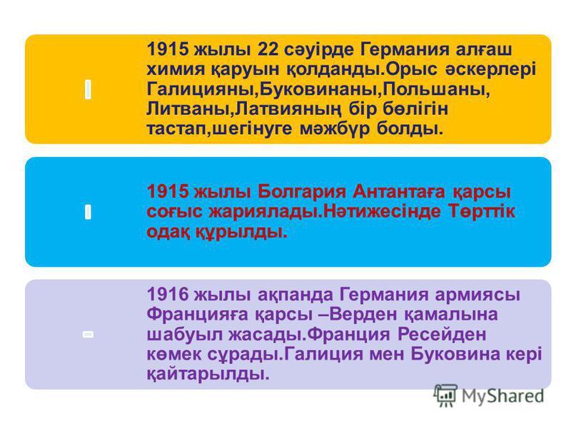 1915 жылы 22 сәуірде Германия алғаш химия қаруын қолданды.Орыс әскерлері Галицияны,Буковинаны,Польшаны, Литваны,Латвияның бір бөлігін тастап,шегінуге мәжбүр болды. 1915 жылы Болгария Антантаға қарсы соғыс жариялады.Нәтижесінде Төрттік одақ құрылды. 1