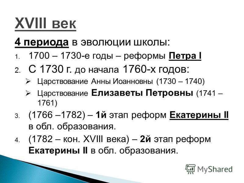 4 периода в эволюции школы: 1. 1700 – 1730-е годы – реформы Петра I 2. С 1730 г. до начала 1760-х годов: Царствование Анны Иоанновны (1730 – 1740) Царствование Елизаветы Петровны (1741 – 1761) 3. (1766 –1782) – 1 й этап реформ Екатерины II в обл. обр