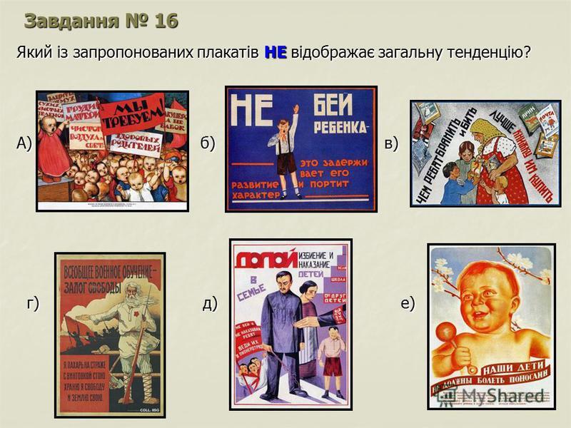 Завдання 16 Який із запропонованих плакатів НЕ відображає загальну тенденцію? А) б) в) г) д) е) г) д) е)