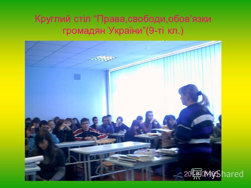 Круглий стіл Права,свободи,обовязки громадян України(9-ті кл.)