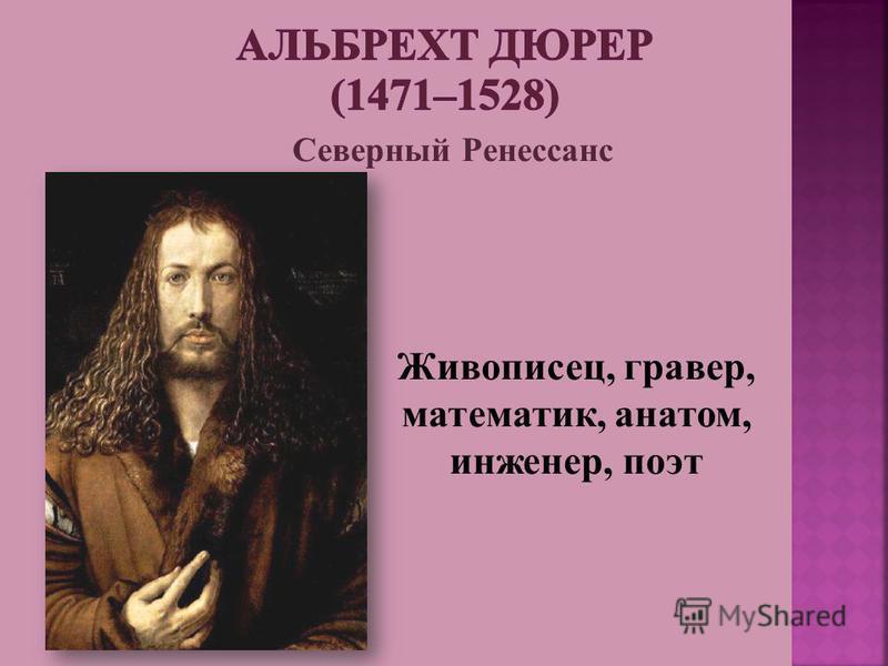 Живописец, гравер, математик, анатом, инженер, поэт Северный Ренессанс