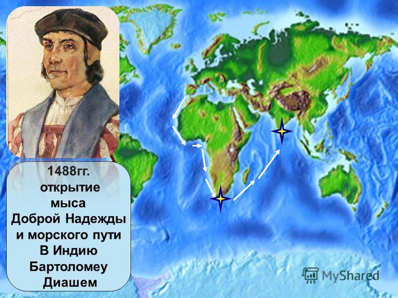 1488 гг. открытие мыса Доброй Надежды и морского пути В Индию Бартоломеу Диашем