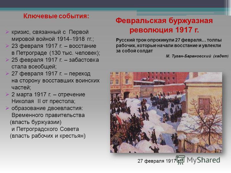 Ключевые события: кризис, связанный с Первой мировой войной 1914 – 1918 гг.; 23 февраля 1917 г. – восстание в Петрограде (130 тыс. человек); 25 февраля 1917 г. – забастовка стала всеобщей; 27 февраля 1917 г. – переход на сторону восставших воинских ч