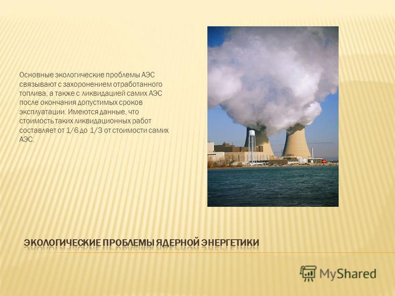 Основные экологические проблемы АЭС связывают с захоронением отработанного топлива, а также с ликвидацией самих АЭС после окончания допустимых сроков эксплуатации. Имеются данные, что стоимость таких ликвидационных работ составляет от 1/6 до 1/3 от с