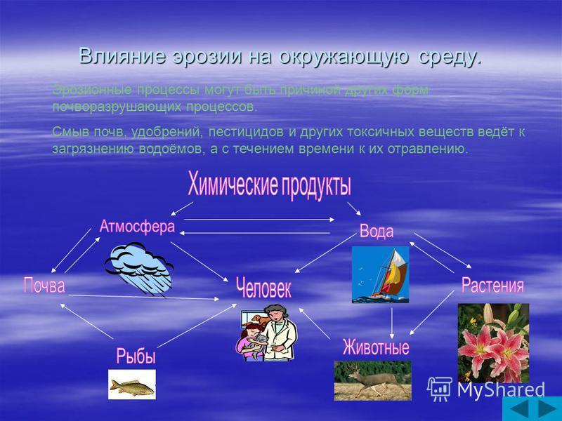 Влияние эрозии на окружающую среду. Эрозионные процессы могут быть причиной других форм почворазрушающих процессов. Смыв почв, удобрений, пестицидов и других токсичных веществ ведёт к загрязнению водоёмов, а с течением времени к их отравлению.