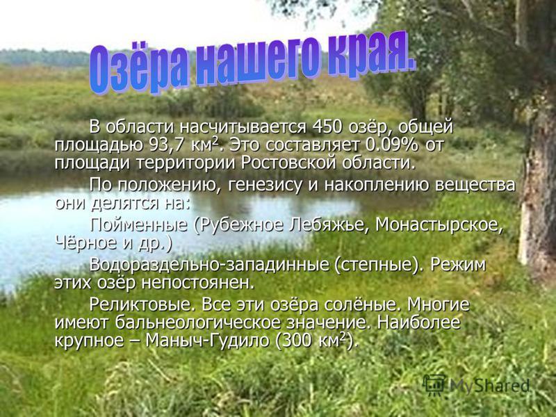 В области насчитывается 450 озёр, общей площадью 93,7 км 2. Это составляет 0.09% от площади территории Ростовской области. По положению, генезису и накоплению вещества они делятся на: Пойменные (Рубежное Лебяжье, Монастырское, Чёрное и др.) Водоразде