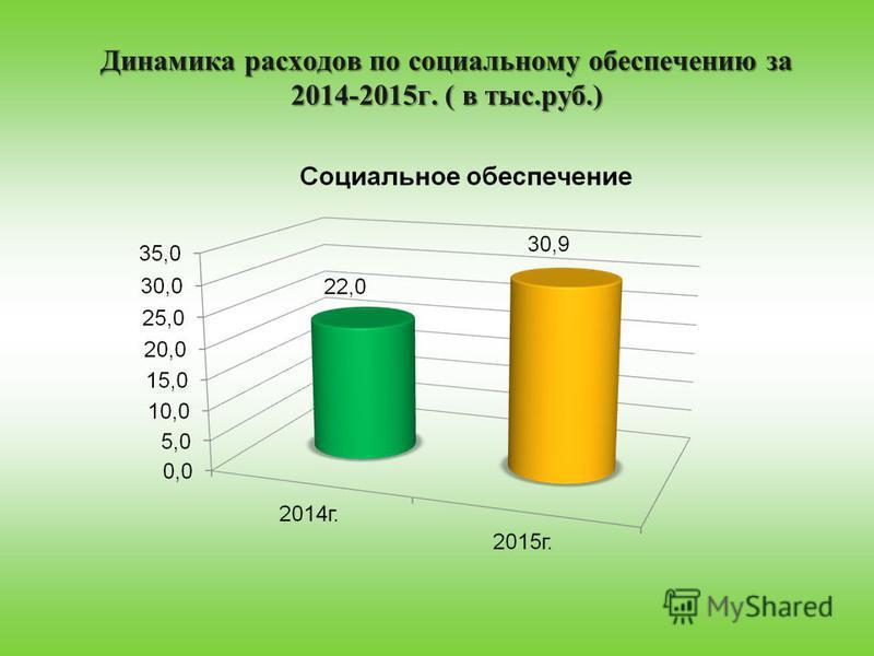 Динамика расходов по социальному обеспечению за 2014-2015 г. ( в тыс.руб.)