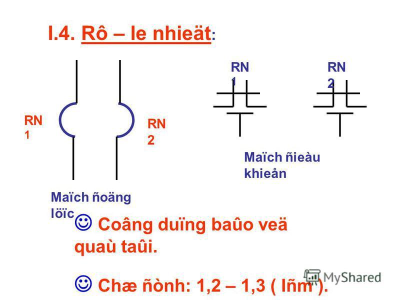 I.4. Rô – le nhieät : RN 2 RN 1 Maïch ñoäng löïc RN 1 RN 2 Maïch ñieàu khieån Coâng duïng baûo veä quaù taûi. Chæ ñònh: 1,2 – 1,3 ( Iñm ).