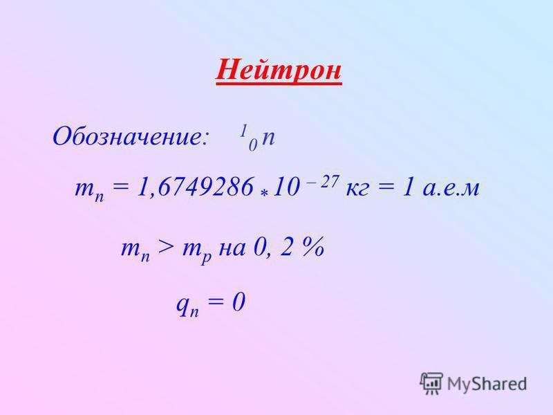 Нейтрон Обозначение: 1 0 n q n = 0 m n = 1,6749286 * 10 – 27 кг = 1 а.е.м m n > m p на 0, 2 %