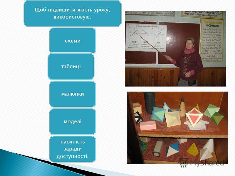 Щоб підвищити якість уроку, використовую: схемитаблицімалюнкимоделі наочність заради доступності.