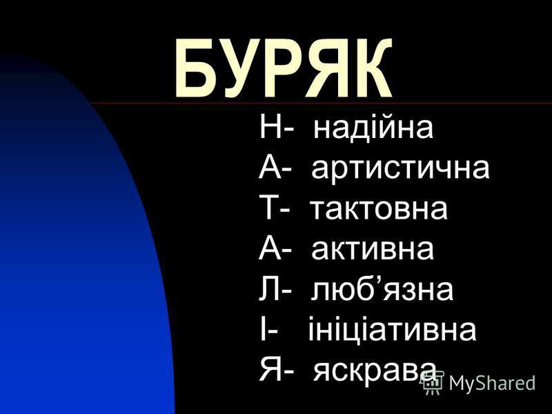 БУРЯК Н- надійна А- артистична Т- тактовна А- активна Л- любязна І- ініціативна Я- яскрава