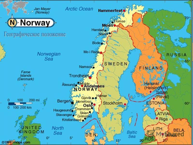 Находится в Северной Европе, в северной и западной части Скандинавского полуострова и на архипелаге Шпицберген. На востоке граничит со Швецией (1 619 км), на северо-востоке – с Финляндией (729 км) и Россией (167 км). Длина береговой линии - 21 925 км