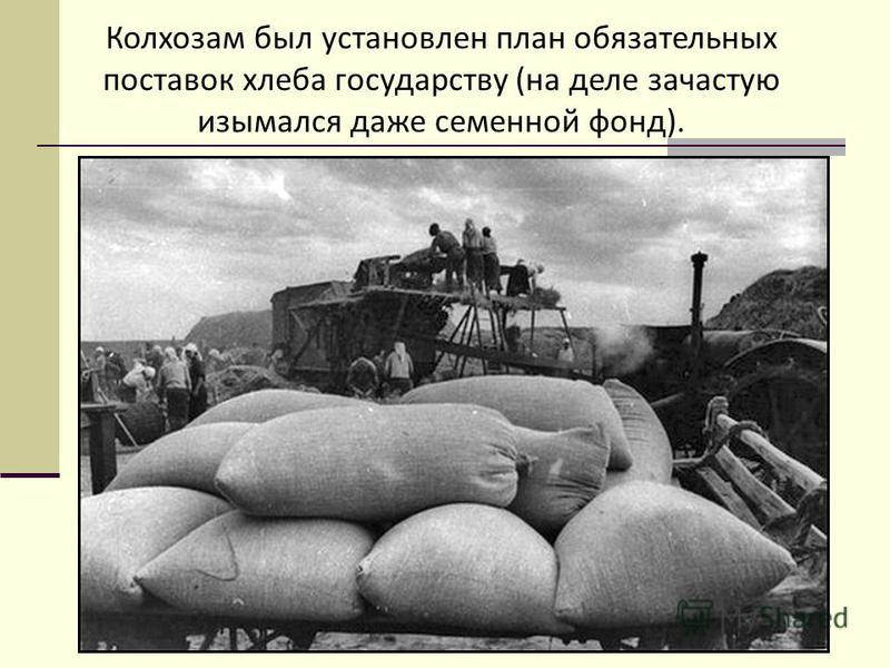 Колхозам был установлен план обязательных поставок хлеба государству (на деле зачастую изымался даже семенной фонд).
