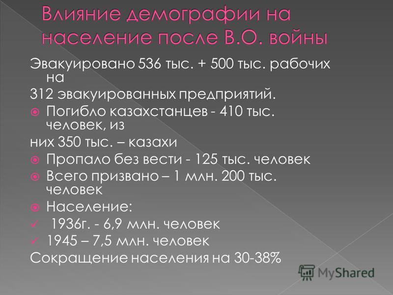 Эвакуировано 536 тыс. + 500 тыс. рабочих на 312 эвакуированных предприятий. Погибло казахстанцев - 410 тыс. человек, из них 350 тыс. – казахи Пропало без вести - 125 тыс. человек Всего призвано – 1 млн. 200 тыс. человек Население: 1936 г. - 6,9 млн.