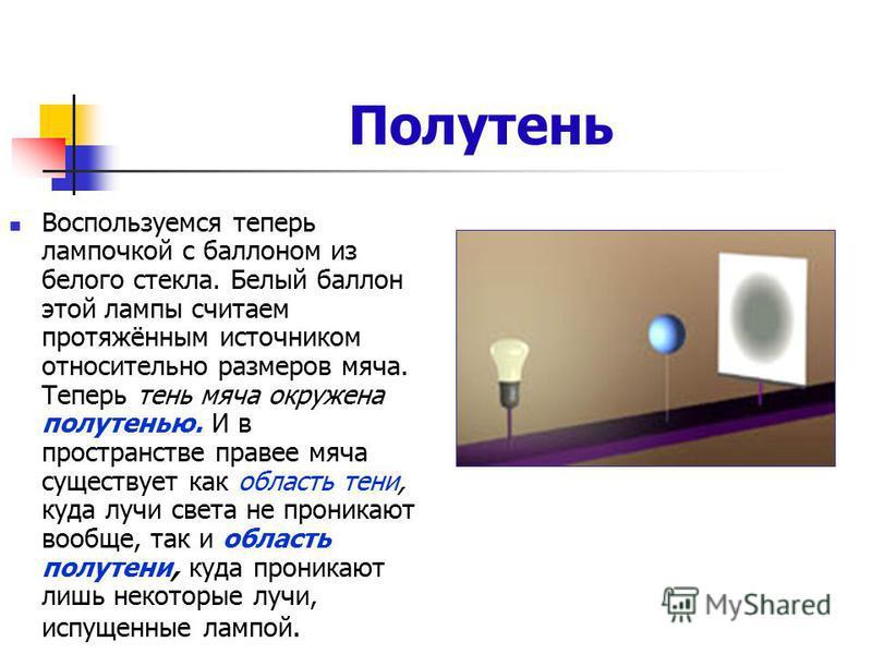 Полутень Воспользуемся теперь лампочкой с баллоном из белого стекла. Белый баллон этой лампы считаем протяжённым источником относительно размеров мяча. Теперь тень мяча окружена полутенью. И в пространстве правее мяча существует как область тени, куд