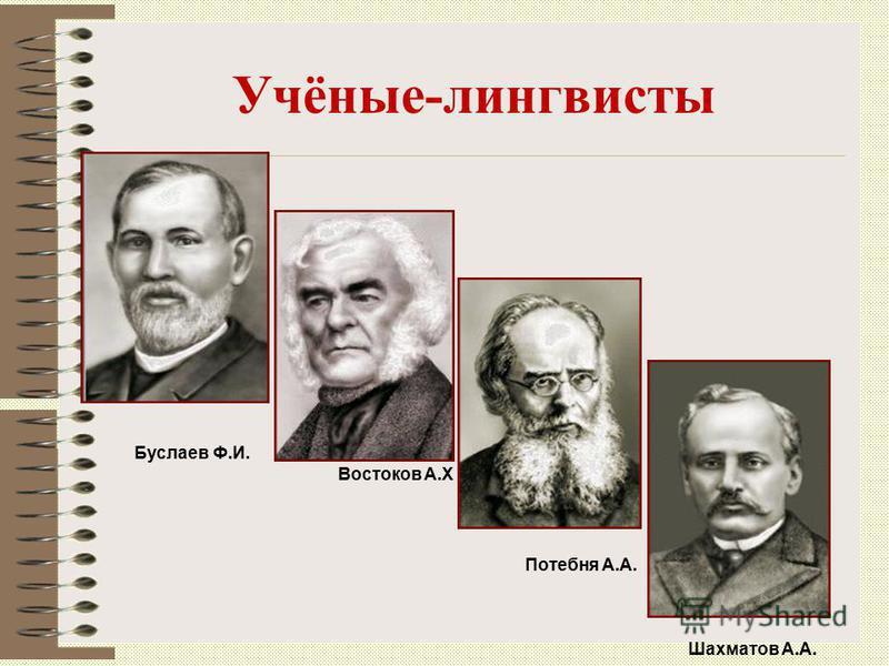 Учёные-лингвисты Буслаев Ф.И. Востоков А.Х Потебня А.А. Шахматов А.А.
