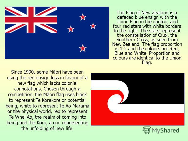 The Flag of New Zealand is a defaced blue ensign with the Union Flag in the canton, and four red stars with white borders to the right. The stars represent the constellation of Crux, the Southern Cross, as seen from New Zealand. The flag proportion i