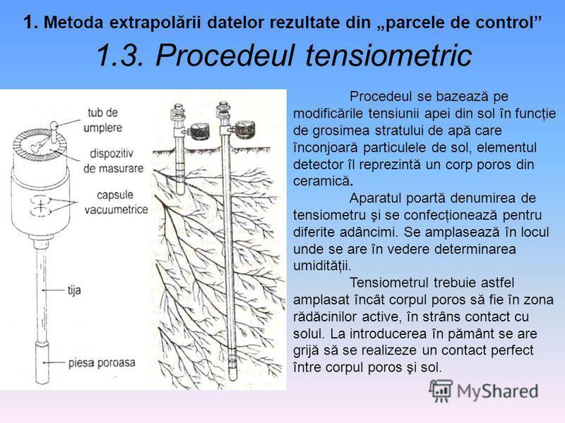 1. Metoda extrapolării datelor rezultate din parcele de control 1.3. Procedeul tensiometric Procedeul se bazează pe modificările tensiunii apei din sol în funcţie de grosimea stratului de apă care înconjoară particulele de sol, elementul detector îl