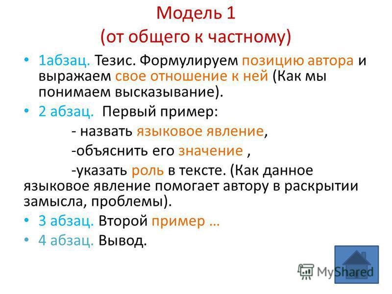 Модель 1 (от общего к частному) 1 абзац. Тезис. Формулируем позицию автора и выражаем свое отношение к ней (Как мы понимаем высказывание). 2 абзац. Первый пример: - назвать языковое явление, -объяснить его значение, -указать роль в тексте. (Как данно