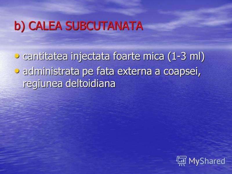 b) CALEA SUBCUTANATA cantitatea injectata foarte mica (1-3 ml) cantitatea injectata foarte mica (1-3 ml) administrata pe fata externa a coapsei, regiunea deltoidiana administrata pe fata externa a coapsei, regiunea deltoidiana