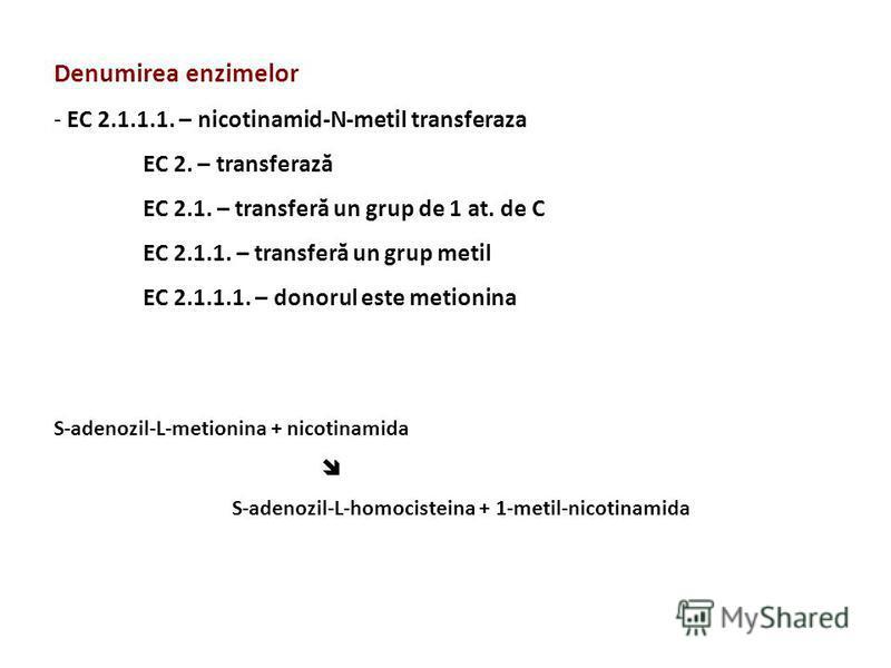 Denumirea enzimelor - EC 2.1.1.1. – nicotinamid-N-metil transferaza EC 2. – transferază EC 2.1. – transferă un grup de 1 at. de C EC 2.1.1. – transferă un grup metil EC 2.1.1.1. – donorul este metionina S-adenozil-L-metionina + nicotinamida S-adenozi