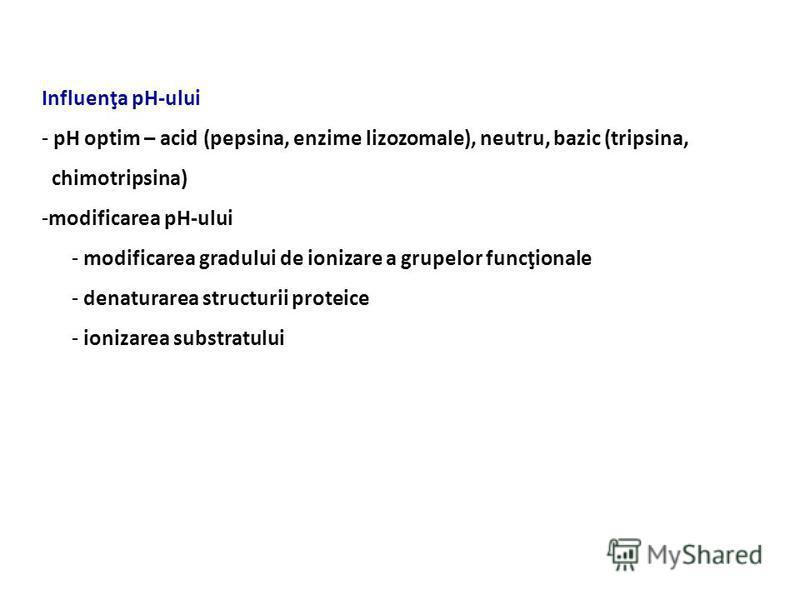 Influenţa pH-ului - pH optim – acid (pepsina, enzime lizozomale), neutru, bazic (tripsina, chimotripsina) -modificarea pH-ului - modificarea gradului de ionizare a grupelor funcţionale - denaturarea structurii proteice - ionizarea substratului