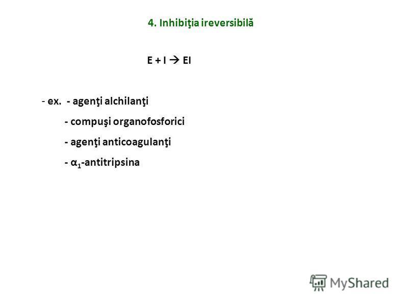 4. Inhibiţia ireversibilă E + I EI - ex. - agenţi alchilanţi - compuşi organofosforici - agenţi anticoagulanţi - α 1 -antitripsina