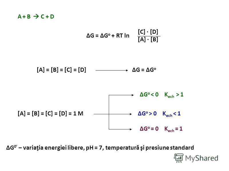 ΔG3ΔG3 ΔG2ΔG2 ΔG1ΔG1 DCBA ΔG 1 + ΔG 2 + ΔG 3 = ΔG < 0 – cale metabolică exergonică > 0 – cale metabolică endergonică