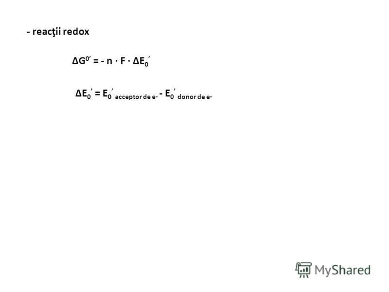 ΔG = ΔG o + RT ln [A] · [B] [C] · [D] A + B C + D [A] = [B] = [C] = [D]ΔG = ΔG o [A] = [B] = [C] = [D] = 1 M ΔG o 1 ΔG o > 0 K ech < 1 ΔG o = 0 K ech = 1 ΔG 0 – variaţia energiei libere, pH = 7, temperatură şi presiune standard