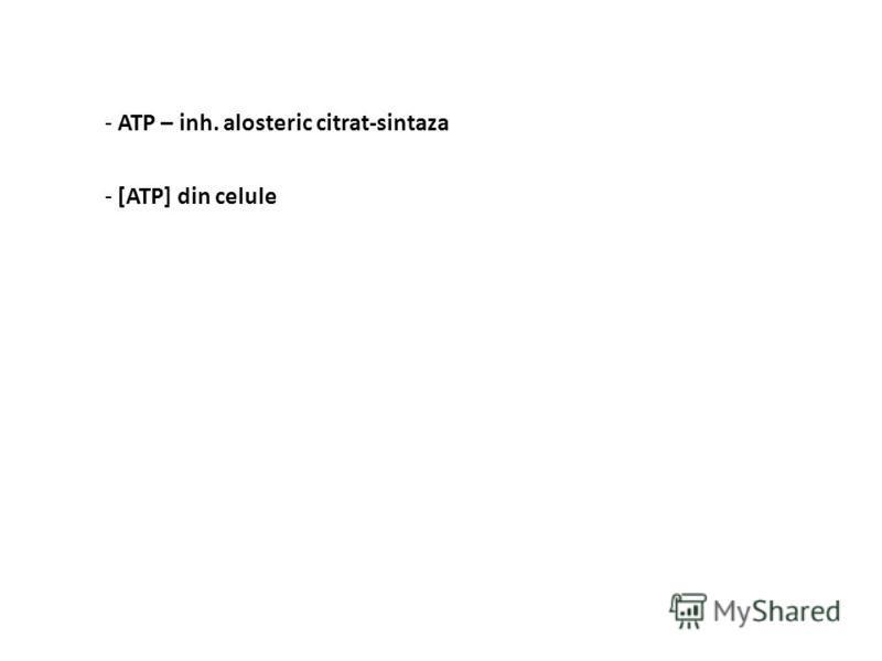 Reglarea ciclului acizilor tricarboxilici - [acetil-CoA] - piruvat-DH-aza - transportul AG în mitocondrie - β-oxidarea AG - izo-citrat-DH-aza, α-ceto-glutarat-DH-aza, succinat-DH-aza - produşi de reacţie - succinil-CoA – inh. α-ceto-glutarat-DH-aza,