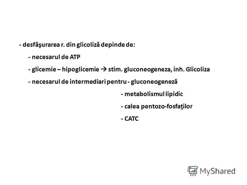 - desfăşurarea r. din glicoliză depinde de: - necesarul de ATP - glicemie – hipoglicemie stim. gluconeogeneza, inh. Glicoliza - necesarul de intermediari pentru - gluconeogeneză - metabolismul lipidic - calea pentozo-fosfaţilor - CATC