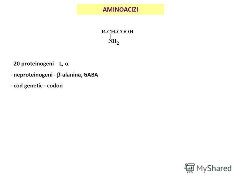 AMINOACIZI - 20 proteinogeni – L, α - neproteinogeni - -alanina, GABA - cod genetic - codon
