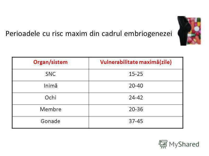 Perioadele cu risc maxim din cadrul embriogenezei Organ/sistemVulnerabilitate maximă(zile) SNC15-25 Inimă20-40 Ochi24-42 Membre20-36 Gonade37-45
