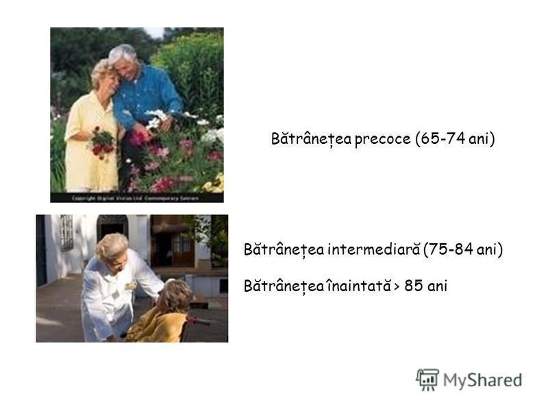 Bătrâneţea precoce (65-74 ani) Bătrâneţea intermediară (75-84 ani) Bătrâneţea înaintată > 85 ani