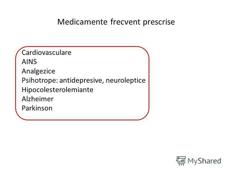 Medicamente frecvent prescrise Cardiovasculare AINS Analgezice Psihotrope: antidepresive, neuroleptice Hipocolesterolemiante Alzheimer Parkinson