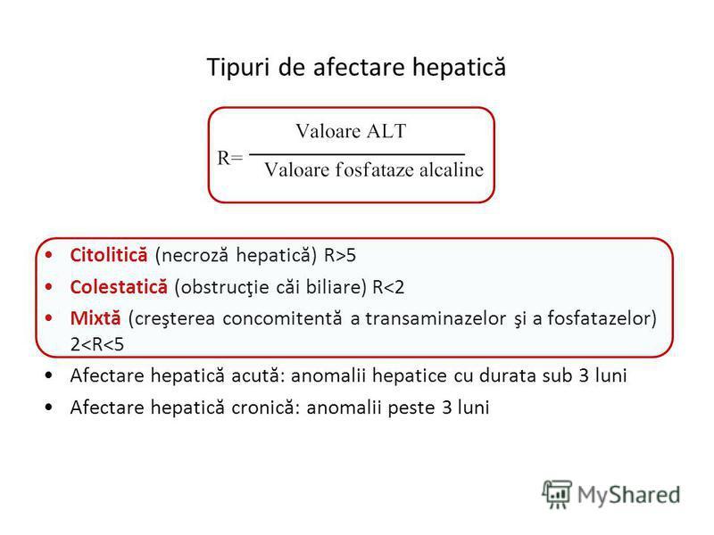 Tipuri de afectare hepatică Citolitică (necroză hepatică) R>5 Colestatică (obstrucţie căi biliare) R<2 Mixtă (creşterea concomitentă a transaminazelor şi a fosfatazelor) 2<R<5 Afectare hepatică acută: anomalii hepatice cu durata sub 3 luni Afectare h