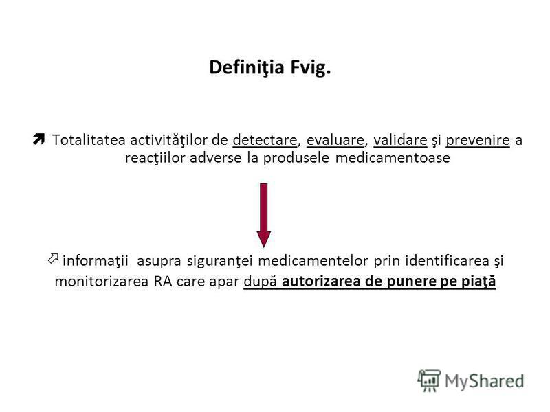 Definiţia Fvig. Totalitatea activităţilor de detectare, evaluare, validare şi prevenire a reacţiilor adverse la produsele medicamentoase informaţii asupra siguranţei medicamentelor prin identificarea şi monitorizarea RA care apar după autorizarea de