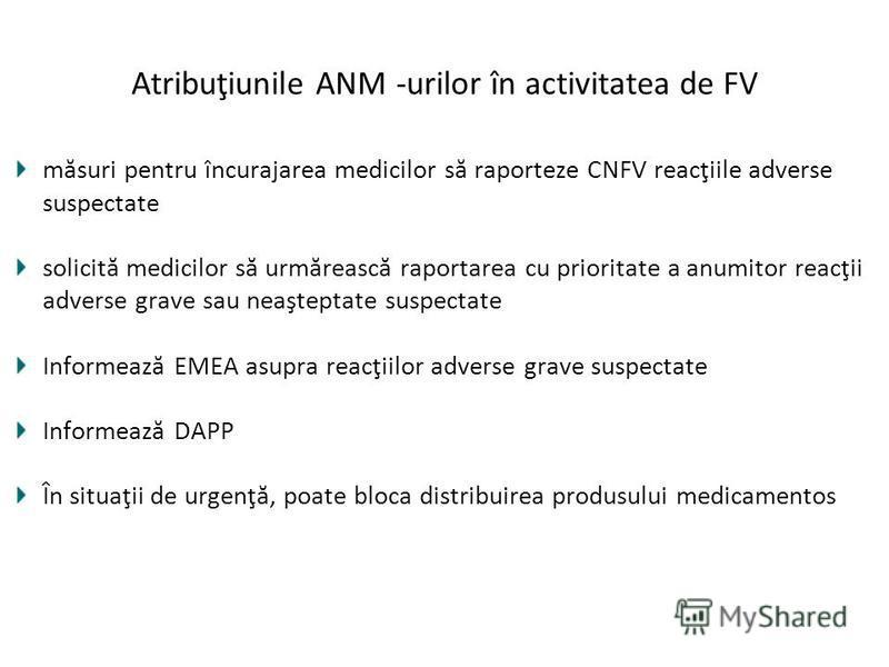 Atribuţiunile ANM -urilor în activitatea de FV măsuri pentru încurajarea medicilor să raporteze CNFV reacţiile adverse suspectate solicită medicilor să urmărească raportarea cu prioritate a anumitor reacţii adverse grave sau neaşteptate suspectate In