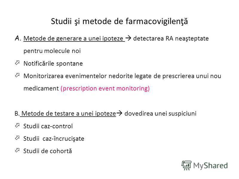 Studii şi metode de farmacovigilenţă A. Metode de generare a unei ipoteze detectarea RA neaşteptate pentru molecule noi Notificările spontane Monitorizarea evenimentelor nedorite legate de prescrierea unui nou medicament (prescription event monitorin