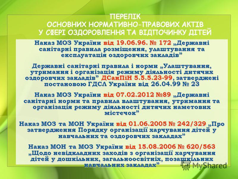 Наказ МОЗ України від 19.06.96. 172 Державні санітарні правила розміщення, улаштування та експлуатація оздоровчих закладів Державні санітарні правила і норми Улаштування, утримання і організація режиму діяльності дитячих оздоровчих закладів ДСанПіН 5