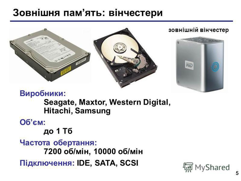 5 Зовнішня память: вінчестери Виробники: Seagate, Maxtor, Western Digital, Hitachi, Samsung Обєм: до 1 Тб Частота обертання: 7200 об/мін, 10000 об/мін Підключення: IDE, SATA, SCSI зовнішній вінчестер