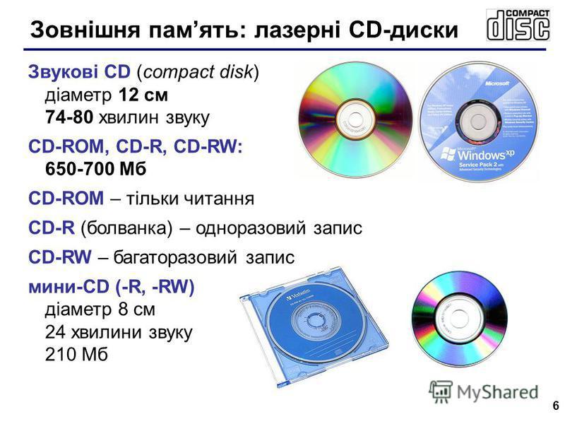 6 Звукові CD (compact disk) діаметр 12 см 74-80 хвилин звуку CD-ROM, CD-R, CD-RW: 650-700 Мб CD-ROM – тільки читання CD-R (болванка) – одноразовий запис CD-RW – багаторазовий запис мини-CD (-R, -RW) діаметр 8 см 24 хвилини звуку 210 Мб Зовнішня памят