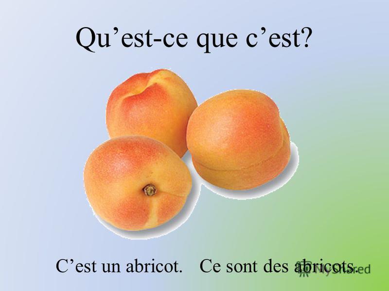 Quest-ce que cest? Cest un abricot. Ce sont des abricots.
