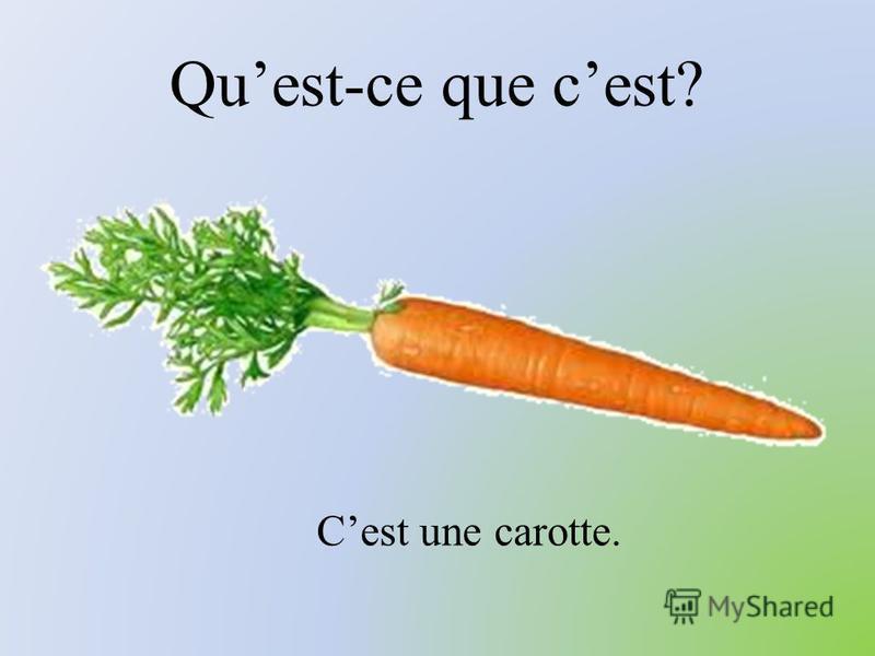 Quest-ce que cest? Cest une carotte.