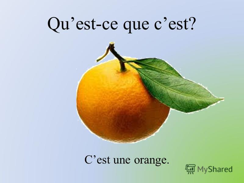 Quest-ce que cest? Cest une orange.