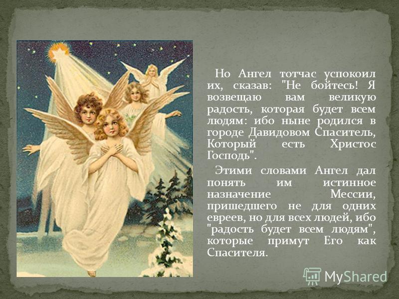 Но Ангел тотчас успокоил их, сказав: